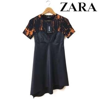[FREE DELIVERY] Zara Asymmetrical Faux Leather & Tees Combined Dress