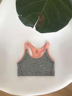 Grey and peach sports bra
