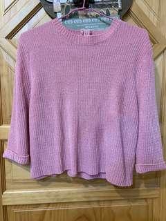 🚚 灰粉色 絨毛 金拉鍊 短版 上衣