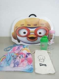 Meja lipat tas little pony tempat minum