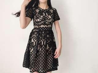 INSTOCKS Lace Crochet Dress in Black