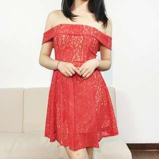 INSTOCK Lace Off Shoulder Dress in Red