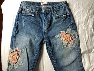 New Zara Embossed Floral Skinny Jeans