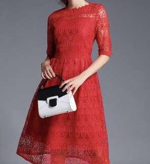 Shein red lace dress