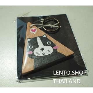 泰國文創 手繪可愛貓咪木質鑰匙圈 泰國帶回 共2種圖案