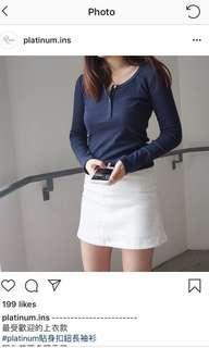 1套!!! 有名IG shop!! Platinum貼身扣鈕長袖衫+糖果色A字裙
