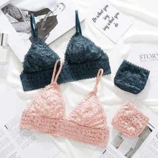Green Lace Bralette and Panty Set