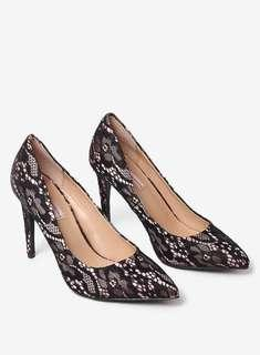 Brand New Dorothy Perkins Black Lace 'Emily' Point Court Shoes UK 4 EUR 37