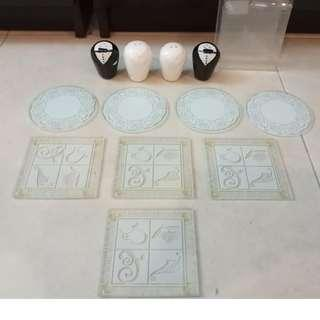 Glass Coasters + Salt/Pepper Shakers - All for RM20