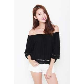 🚚 INSTOCKS Criss Cross Off Shoulder Top in Black