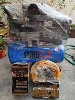Air Compressor 3hp Euro x/// with japan gun aluminium tank air hose