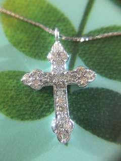💒✨ 18K天然鑽石十字架頸鏈 ✨💒