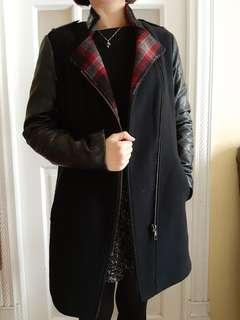 chevignon wool leather coat 皮袖羊絨大褸