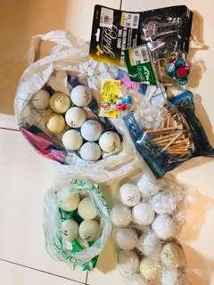 Golf balls etc