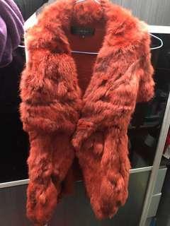 皮草 羊毛 真兔毛大領 羊毛背心外套