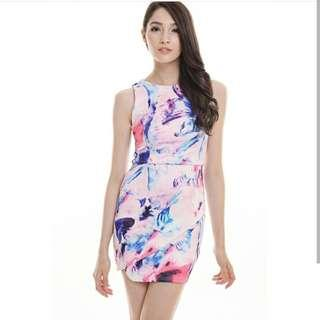 INSTOCK Floral Splash Slant Cut Dress
