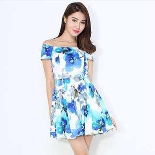 INSTOCK Waterfloral Off Shoulder Dress in Blue