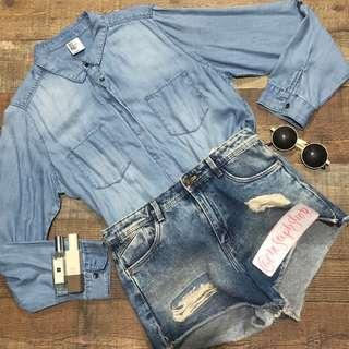 H&M Denim Long Sleeved Top