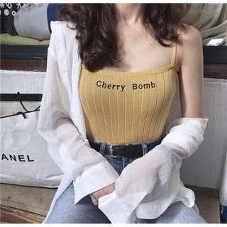 🚚 Yellow mustard Crop Spaghetti cherry bomb top