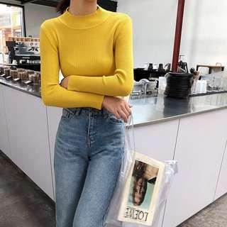 🚚 Yellow sweater turtleneck knitted blouse
