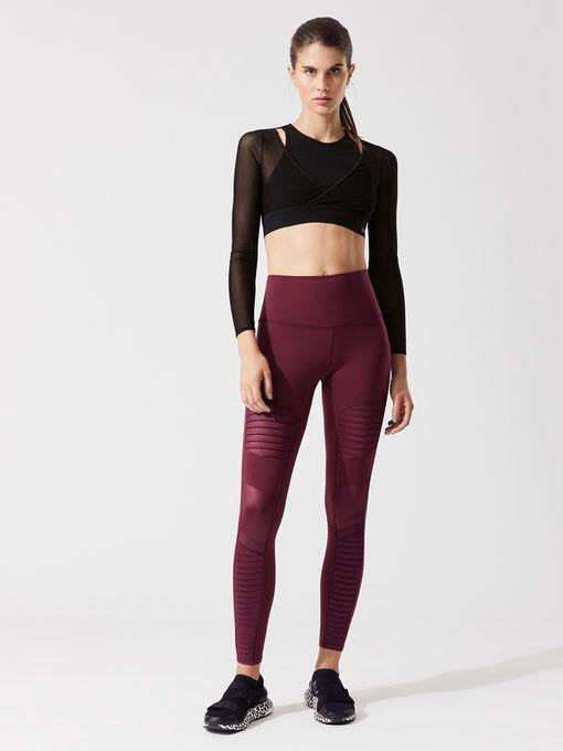 3c39fdf1293c4 Alo High Waisted Moto Leggings (Black Cherry) XS, Sports, Sports ...