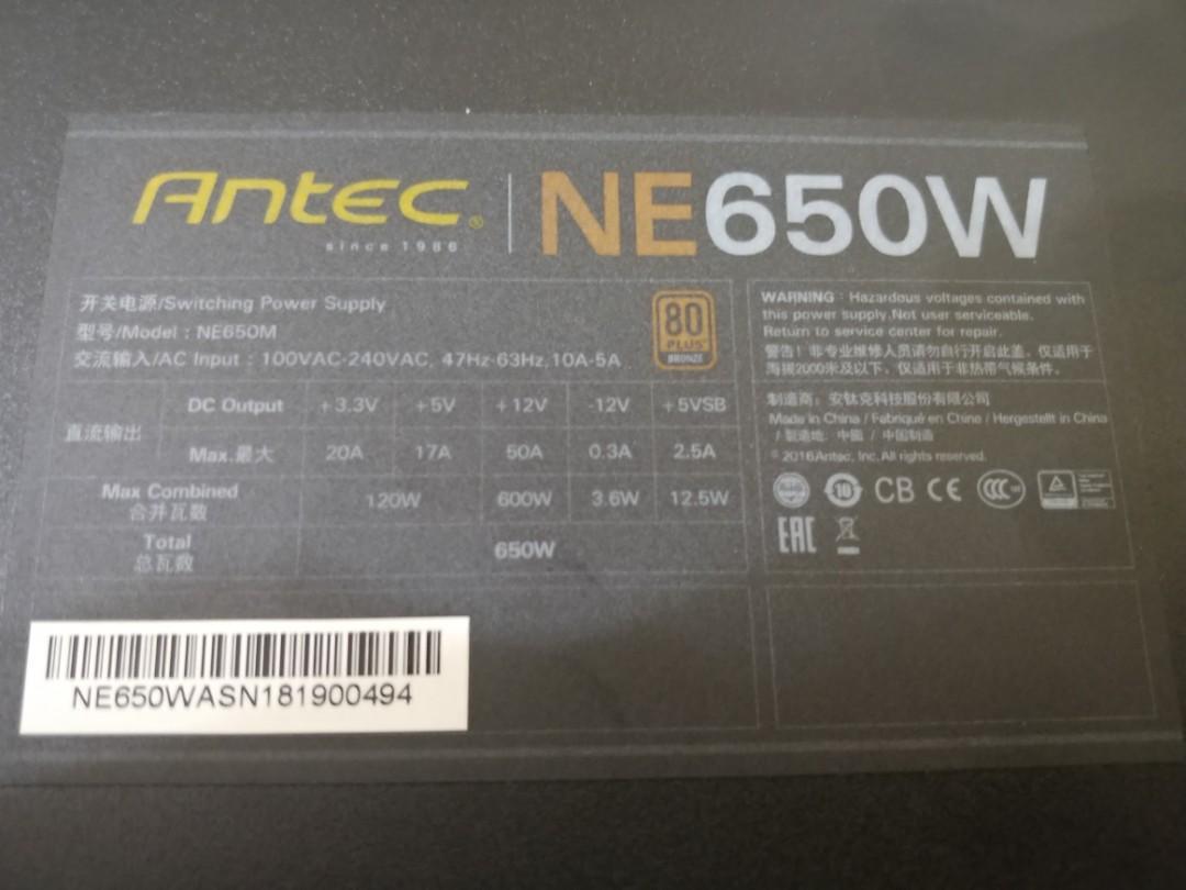 Antec 650W Neo Eco Bronze Semi-Modular PSU PC Power Supply