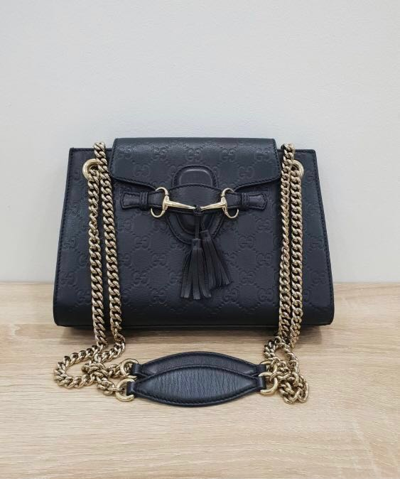 2298eaabbae4 Authentic Gucci Emily Black Guccissima Leather Chain Medium Shoulder ...
