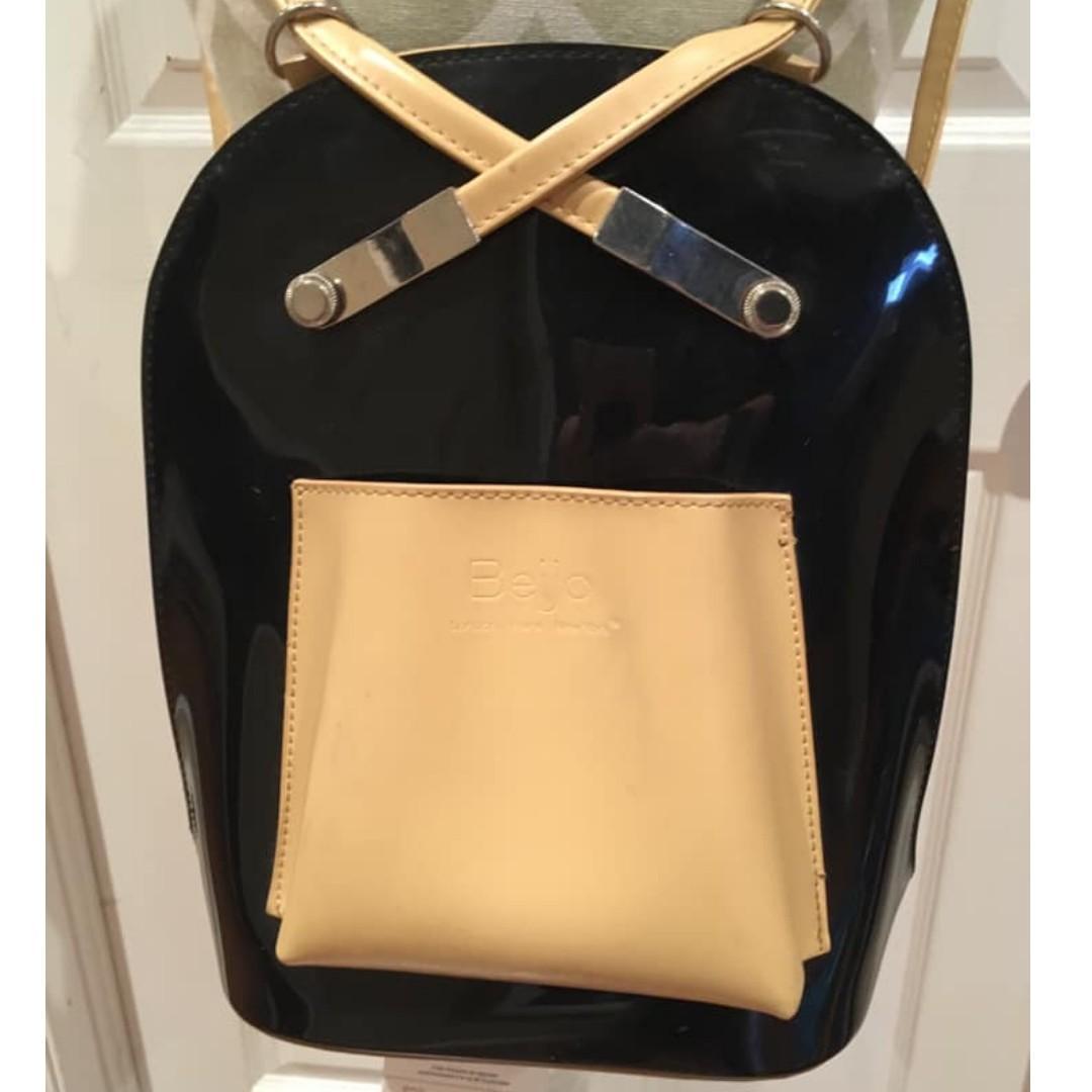 Beijo Mini Backpack Convertible Purse - Black & Tan