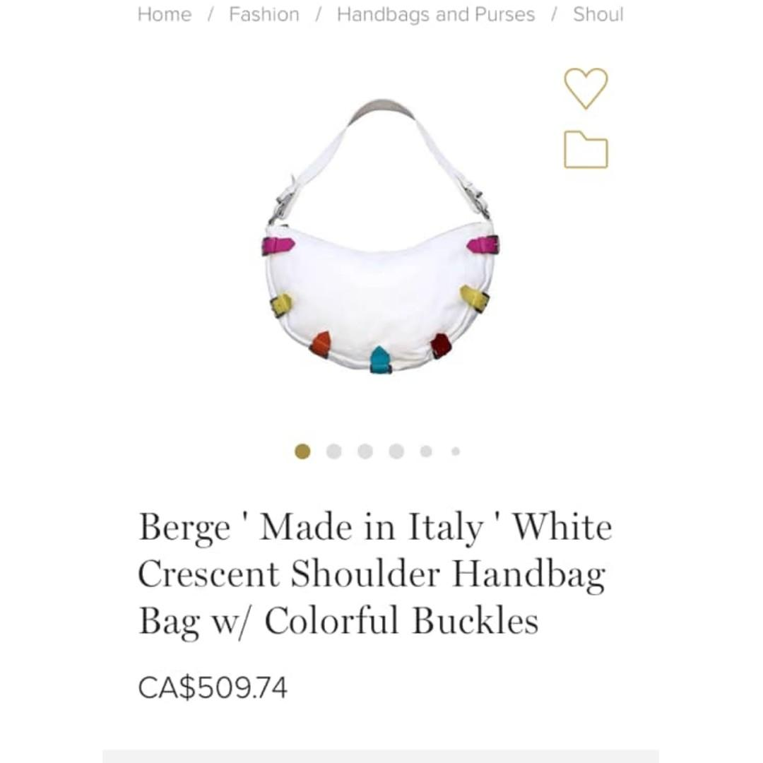 Berge ' Made in Italy Black Crescent Shoulder Handbag Bag w/ Colorful Buckles