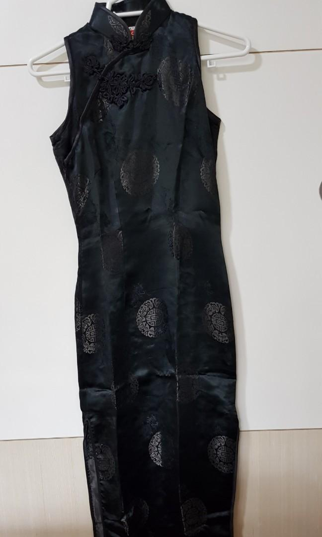 Black Cheongsam Sleeveless (long)