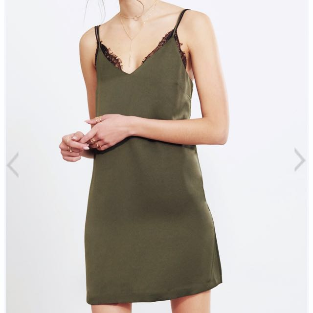 1f6e495cda96 Bn Satin Slip Dress in Olive Army Green, Women's Fashion, Clothes ...