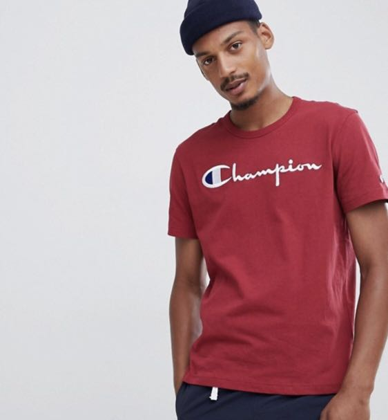 06c9eb93 Champion reverse weave t-shirt with large script logo in red, Men's ...