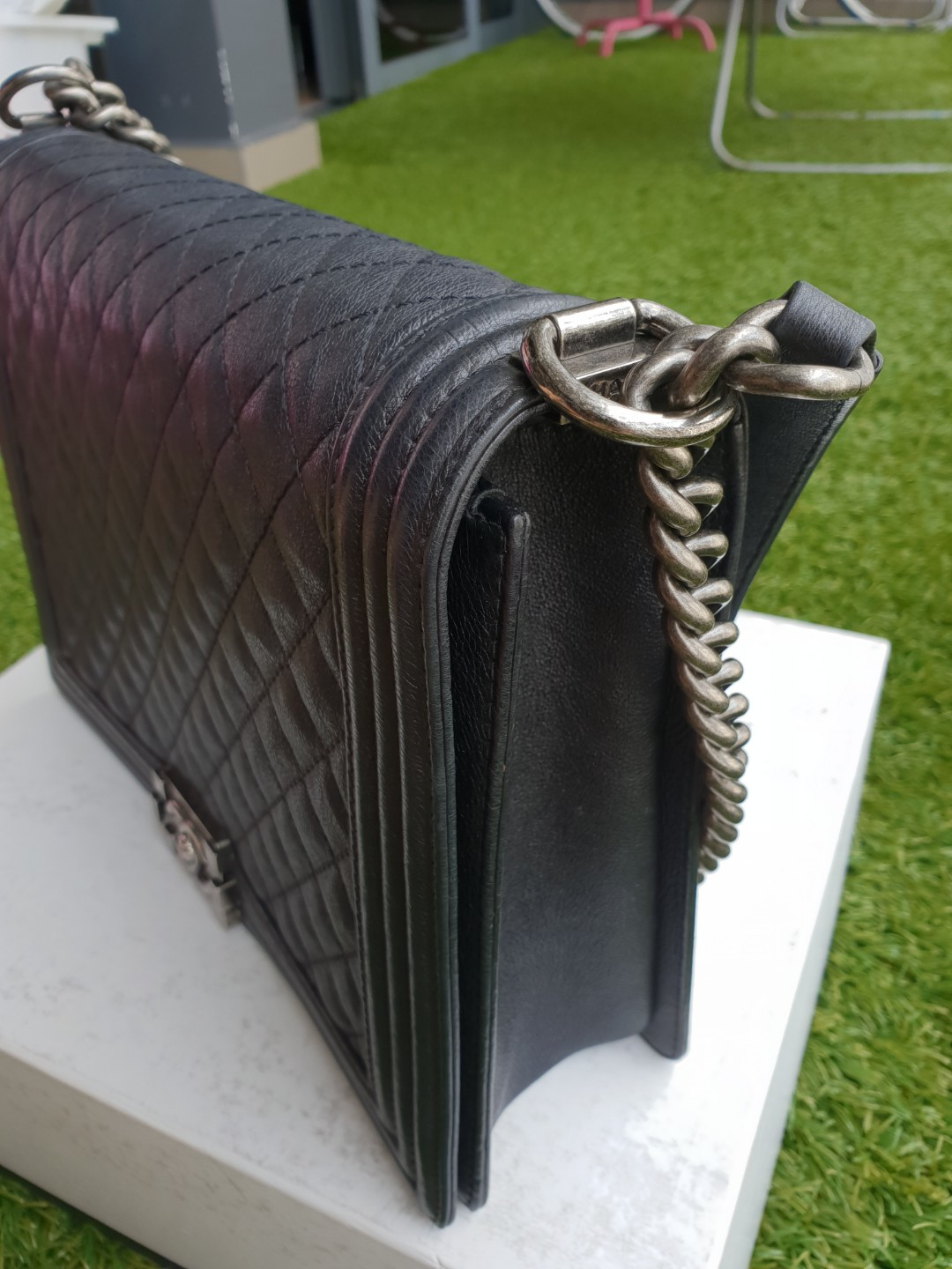 24de2de8229f Chanel Boy Large in Grey Metallic Calfskin RHW, Luxury, Bags & Wallets,  Handbags on Carousell