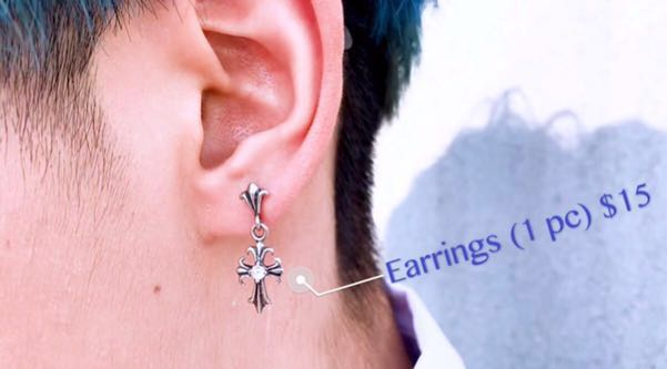 ee564692a21 Chrome hearts earrings limited silver ear stud stainless steel ...