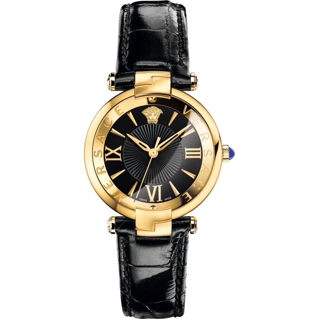 Versace Watch Womens Black Leather Gold 35mm Dial Vai020016