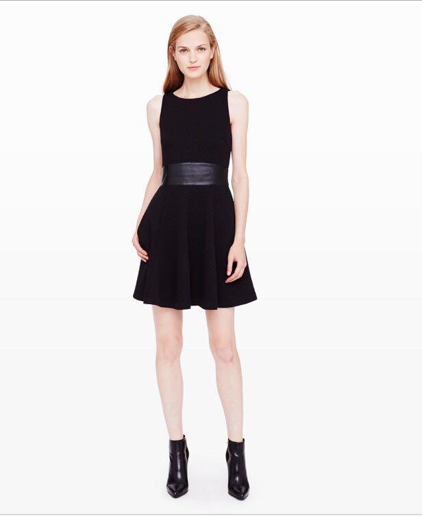 Club Monaco Tabitha dress - size 00 - black with leather