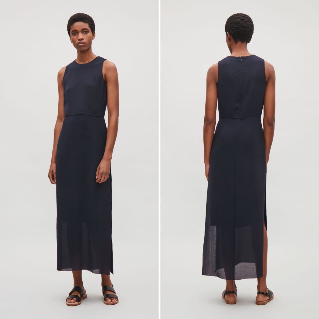 ef6c5e3e0d57e COS maxi dress in navy, Women's Fashion, Clothes, Dresses & Skirts on  Carousell
