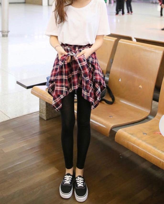 Flannel wrap leggings plaid red black Korean ulzzang asian japan kawaii Tokyo harajuku