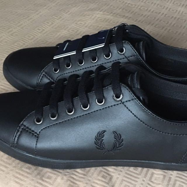 Fred Perry Black Leather Shoes, Men's