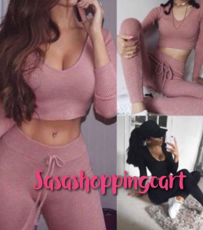 😆FREE SHIPPING* under 500g😆 AU7  Women fashion suits sexy v neck long sleeve top + bodycon pants sets