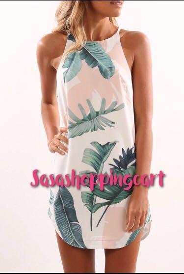 😆FREE SHIPPING* under 500g😆(Blue/White) Sexy Print floral Halter Irregular Dress