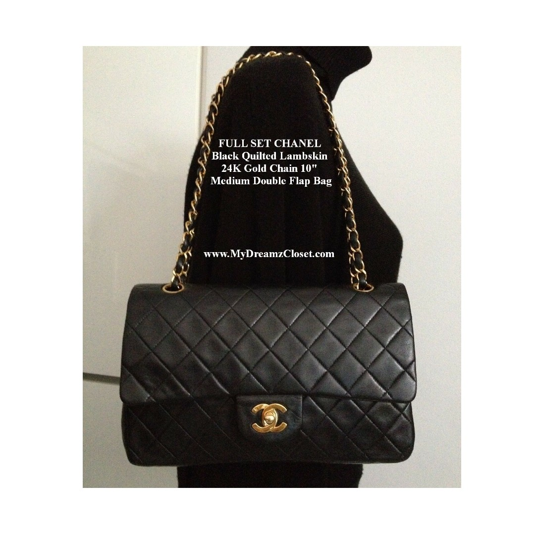 ca5c254ea4d8 FULL SET CHANEL Black Quilted Lambskin 24K Gold Chain 10