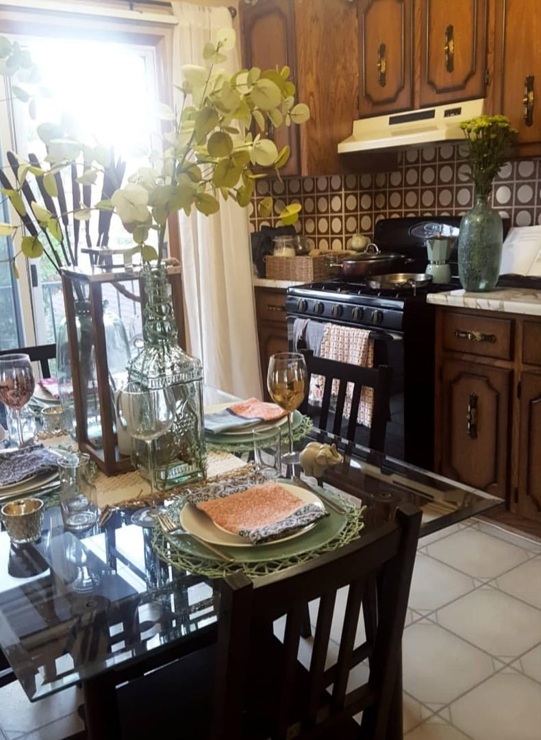 Glass top iron dining table