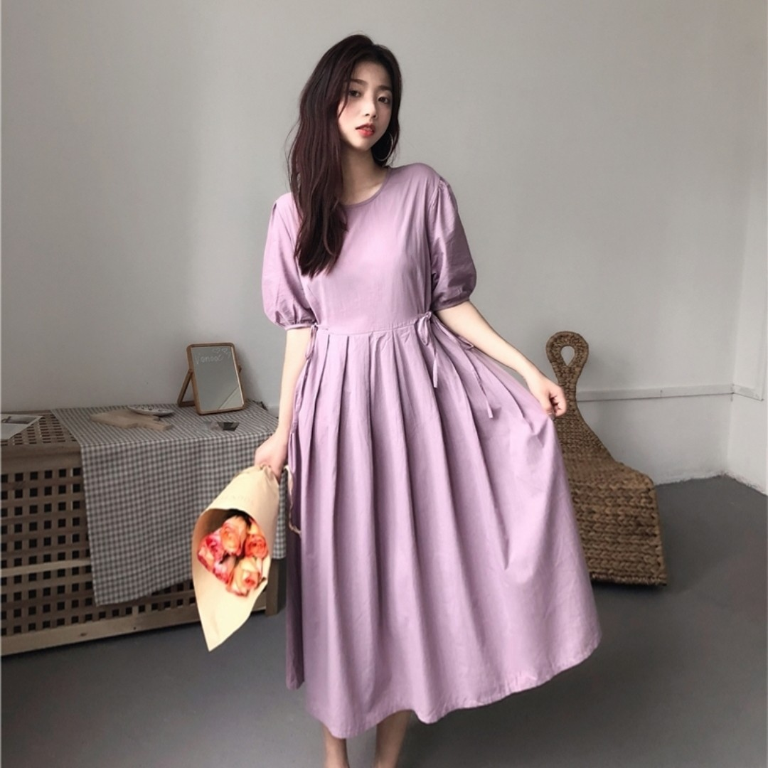Korean Purple Pleated Dress Korea Style Brand New Fashion Ulzzang