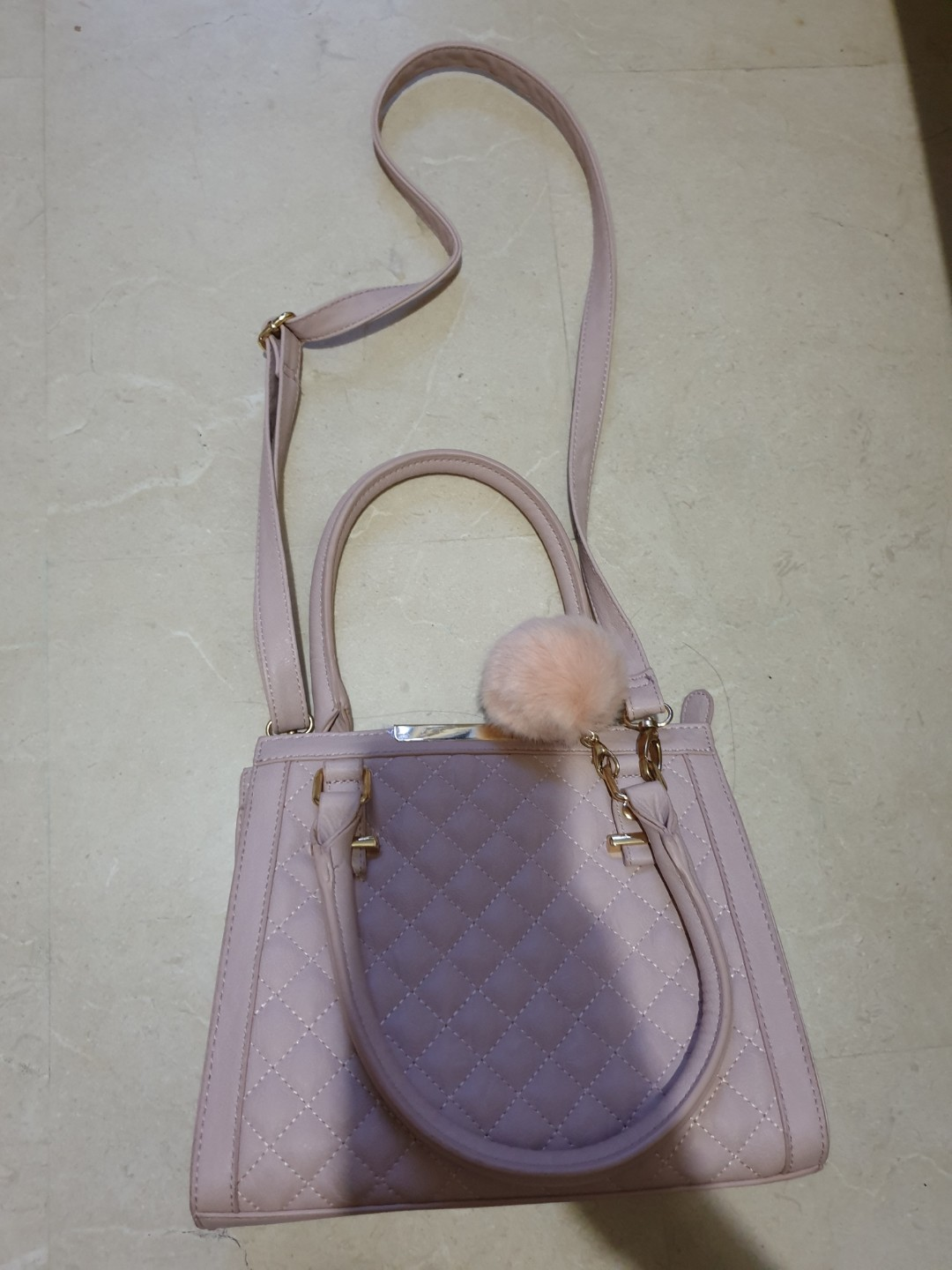 c5815fe109 Marikai Pink Sling Bag with furball