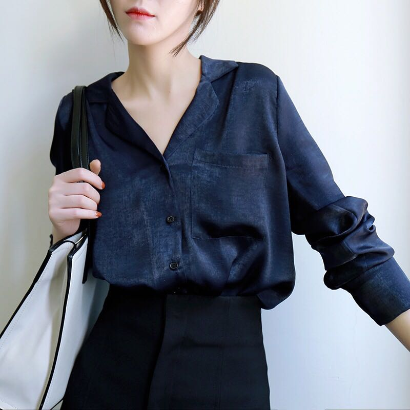 71ddafef5e3bbb Navy blue satin smooth long-sleeved blouse, Women's Fashion, Clothes ...