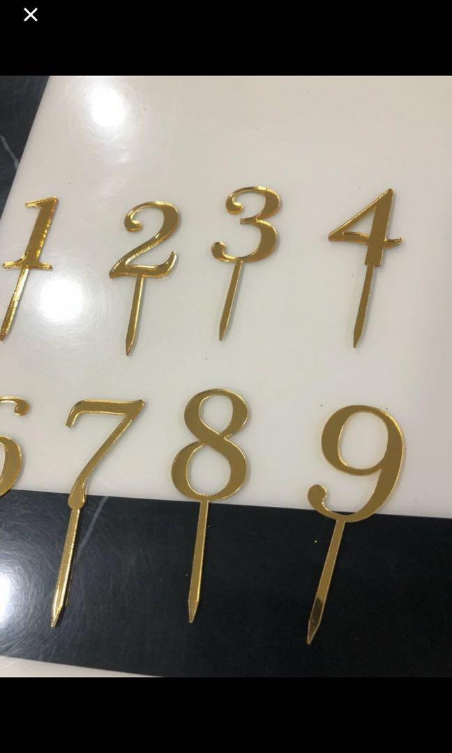 Number acrylic birthday topper gold