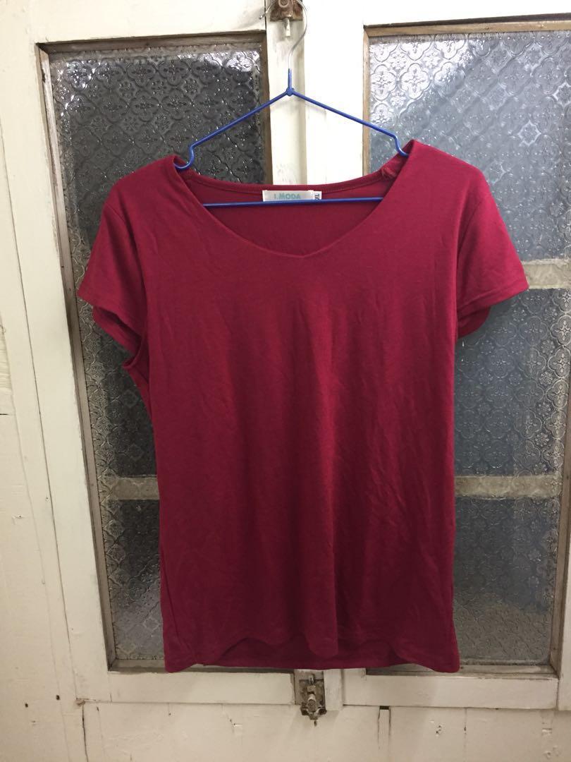 OB紅色V領短袖/XL/彈性很好