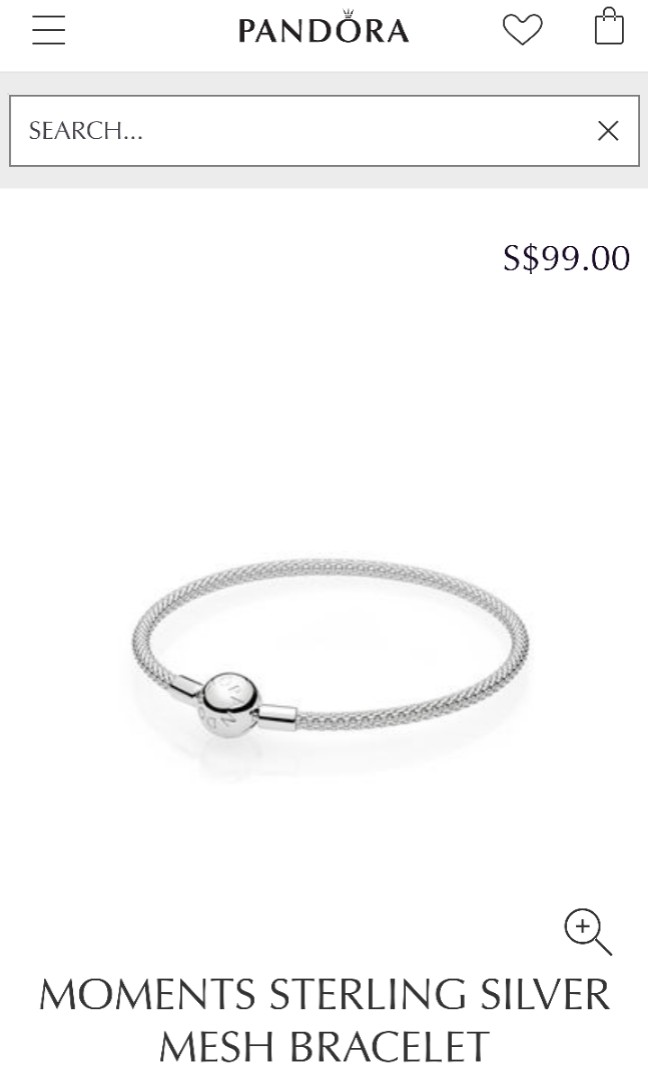 b50cdbda2 Pandaora MOMENTS Sterling Silver Mesh Bracelet, Women's Fashion, Jewellery,  Bracelets on Carousell
