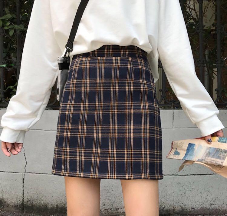 9a7301f6f0 po) Dark Plaid Skirt A-line, Women's Fashion, Clothes, Dresses ...